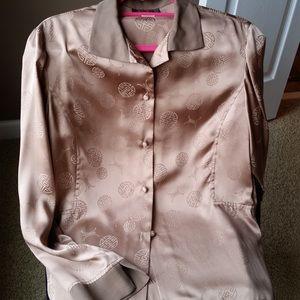 Vintage brown silk button down